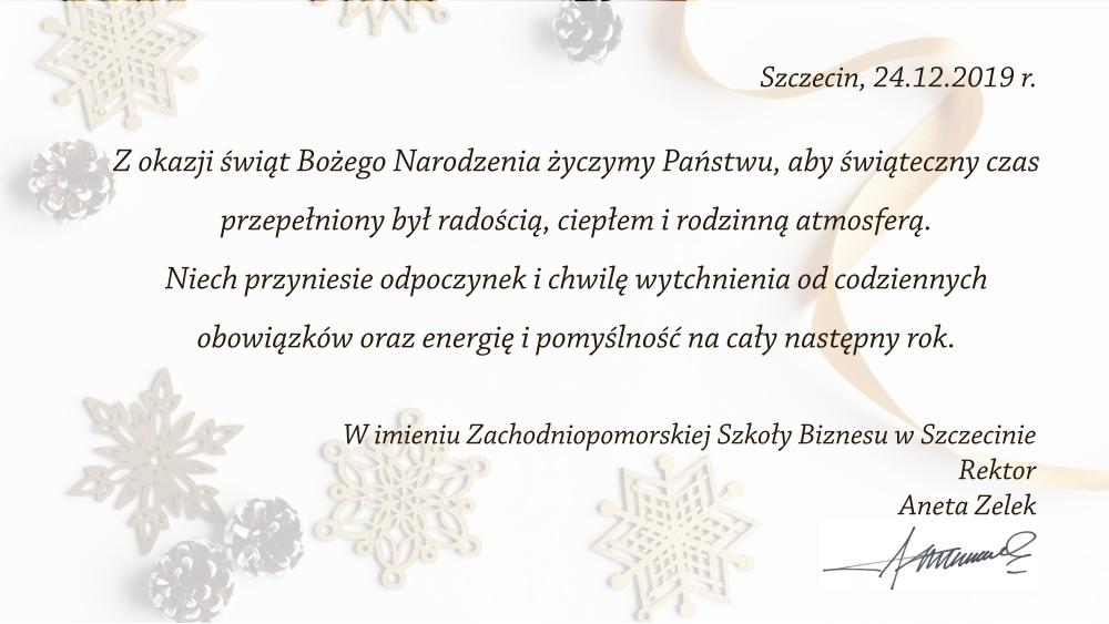Z okazji świąt Bożego Narodzenia życzymy Państwu, aby świąteczny czas przepełniony był radością, ciepłem i rodzinną atmosferą. Niech przyniesie odpoczynek i chwilę wytchnienia od codziennych obowiązków oraz energię i pomyślność na cały następny rok.