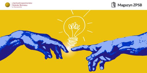 Graficznie przedstawione dłonie, których palce wskazują na żarówkę