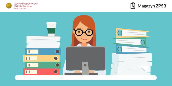 Grafika przedstawiająca kobietę pracującą przy komputerze w otoczeniu dokumentów