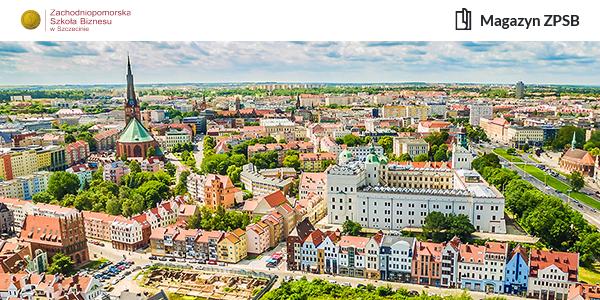 Budynki w Szczecinie sfotografowane z lotu ptaka